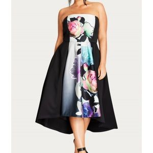 City Chic Water color high low dress